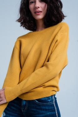 Senffarbener gestrickter Pullover mit Rundhalsausschnitt