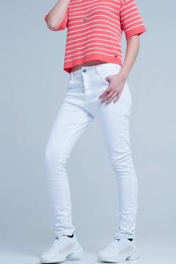 Weiße Enge Boyfriend-Jeans
