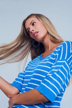 Blauer Gestreifter Pullover mit V-Ausschnitt