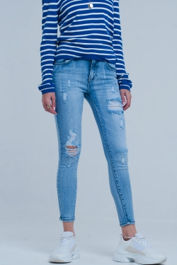 Licht gerissene Skinny Jeans