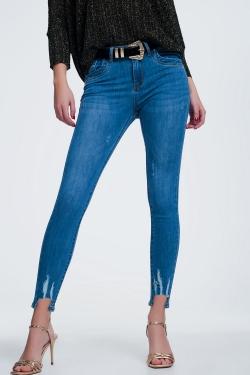 Jeans in heller Waschung Zerrissen und Fransensaum
