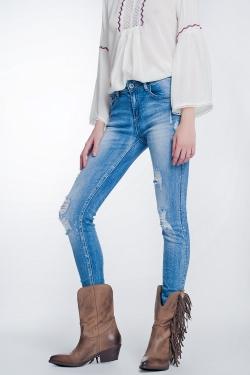 Super enge Jeans in Vintag Waschung mit großen Rissen