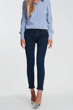 Glitzernde Jeans mit hoher Taille in dunkle Wäsche