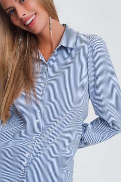 Gestreiftes Hemd mit voluminösen Ärmeln in Blau