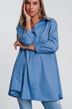 Blau popeline Oversize-Hemd mit Halsband